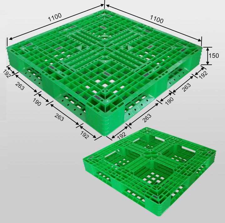 Plastic Pallet with Full Perimeter Bottom And Open Decks Steel Reinforced Plastic Pallets