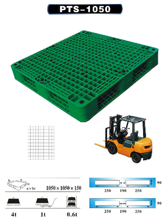 Plastic Pallet with Picture Frame Bottom, Stackable, Grid (L1050*W1050*H150MM)