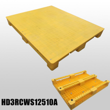 1250*1000 Three Runners Closed Deck Yellow Heavy Duty Plastic Pallet