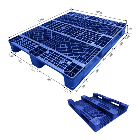 1250*1000 Three Runners Open Deck Stack-able Plastic Pallet