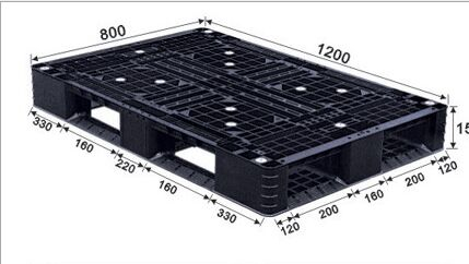 1200*800 Full Perimeter Open Deck Rackable Black Plastic Pallets